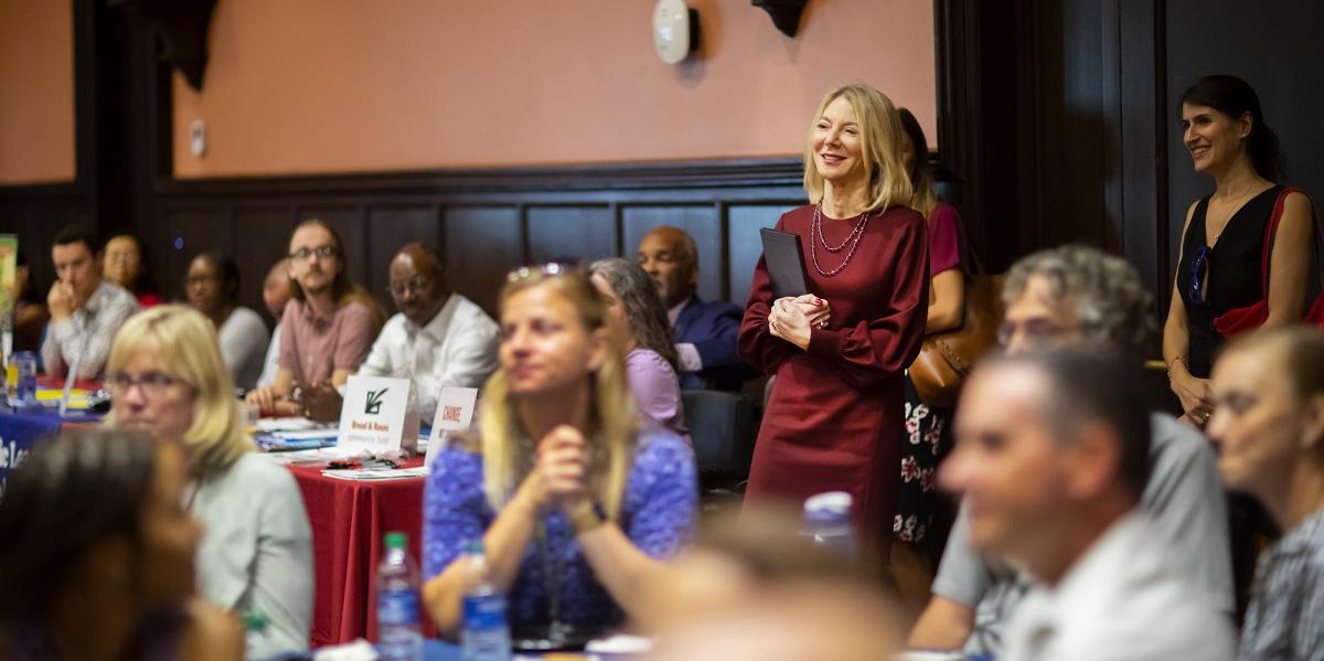 Dr. Gutmann enters Penns Way luncheon